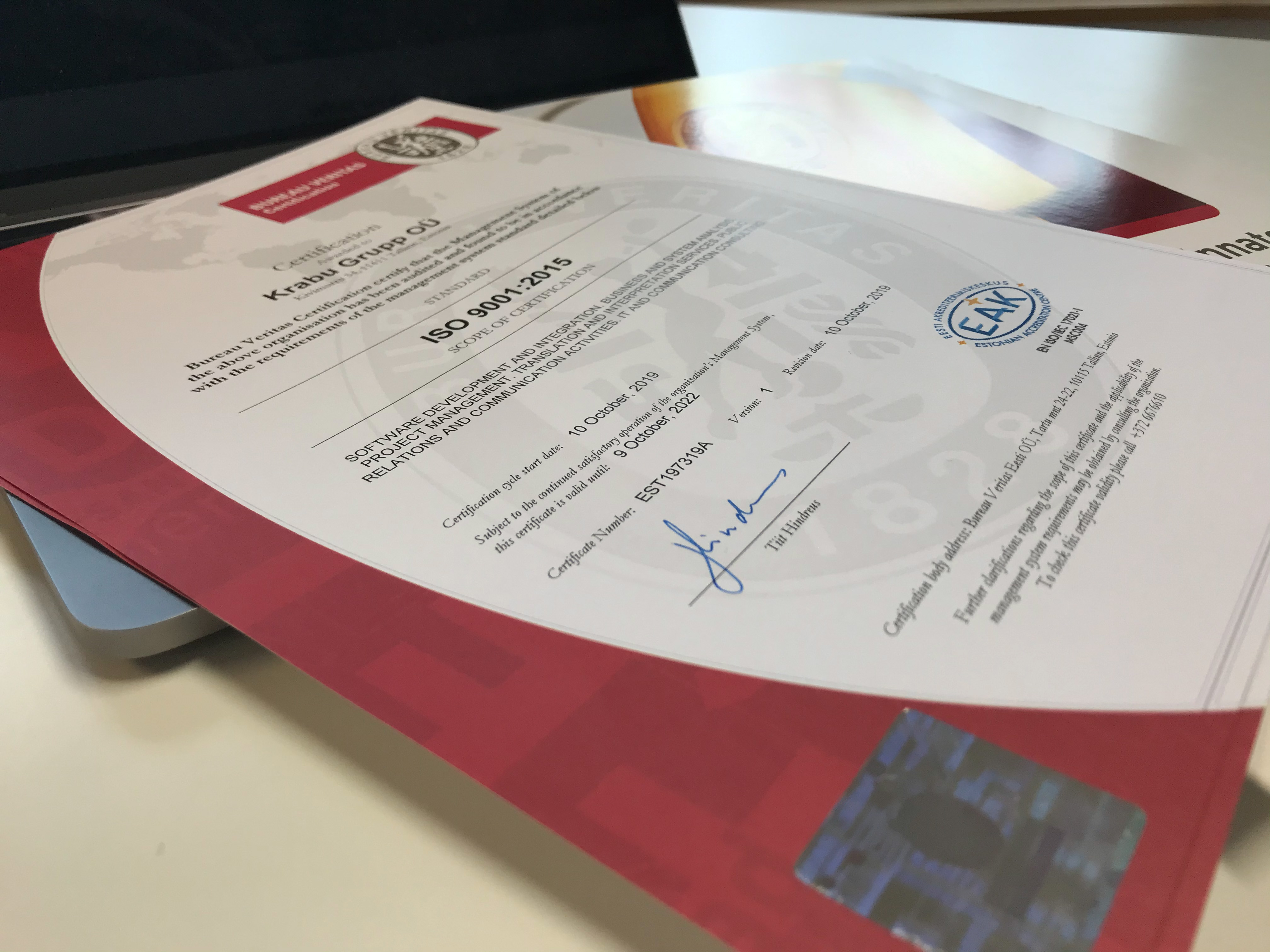 Krabu Grupp Obtained ISO 9001 Quality Management Certificate